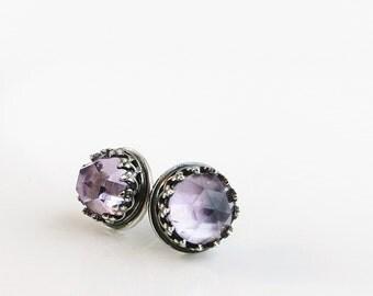 Amethyst stud earrings, Sterling Silver, purple faceted gemstones, Birthstone jewelry