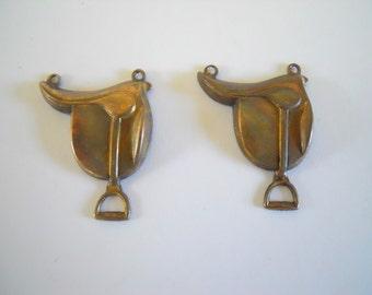 Pair Vintage Brass English Saddle Charms