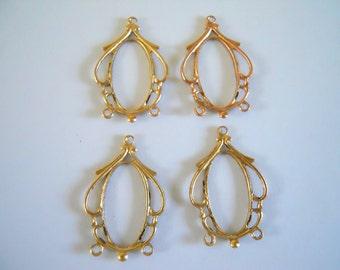4 Vintage Dainty Brass Filigrees