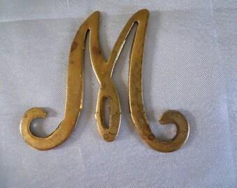 Vintage Brass Initial Monogram Letter M Stamping