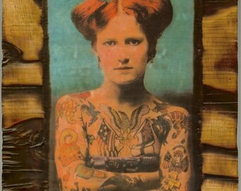 Vintage Tattooed Lady - Wooden Plaque