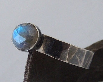 Labradorite Sterling Silver Ring - 6mm blue labradorite ring rustic stacking ring stackable rings