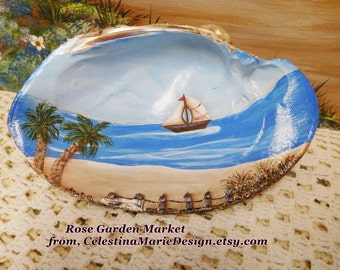 Sea Shell Art, Hand Painted, Sailboat, Ocean Scene, Beach Decor Accent, Collectible, Gift, Beach Cottage Accent, ECS