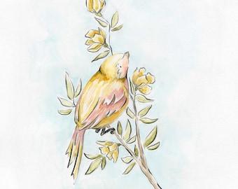 Bird Study Series Yellow Bird Art Print Nursery Art Kids Decor