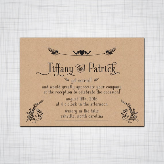 Invitation For Reception After The Wedding: Sweet Birds Heart Rustic Elopement Invitation By Pinklilypress