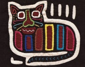 Super-Adorable Black Mola Cat - Kuna Indian Reverse Applique Mola Mini