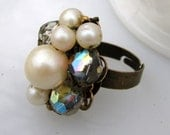 Amanda Ring - 1960's vintage faux pearl and iridescent rhinestones 'gem' on adjustable ring - Free Shipping to USA