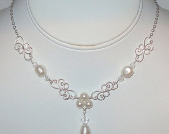 ON SALE 15% OFF Silver Filigree Pearl Necklace, Pearl Y Necklace,  Wedding Jewelry, Bridal Accessories, Bridesmaids Necklace