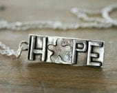 Hope necklace, sterling silver charm necklace with flower, hope jewelry, gift for her, Christmas present for daughter girlfriend or wife