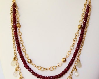 ruby rondelle and moonstone briolette 3-strand matte gold necklace - July birthstone, statement necklace