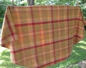Vintage Round Woven Plaid Tablecloth - Gold and Rusty Red - Country Kitchen