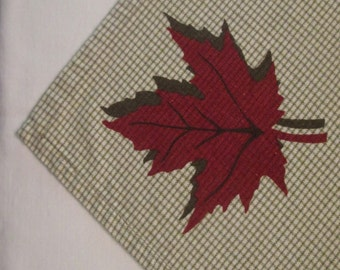 Four Vintage Woven Cotton Napkins - Taupe and Rust Fall Napkins
