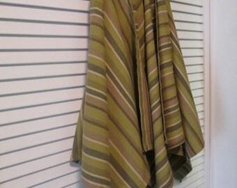 Five Vintage Striped Napkins - Woven Cotton Napkins - Olive Taupe Beige
