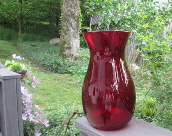 Vintage Ruby/ Burgundy Glass Vase - Wedding Decor - Holiday Decor