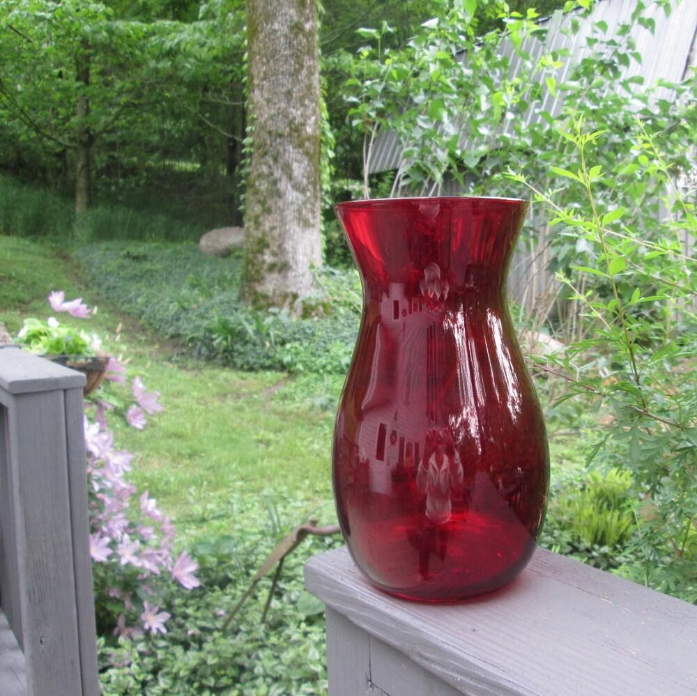 Vintage ruby burgundy glass vase wedding decor christmas