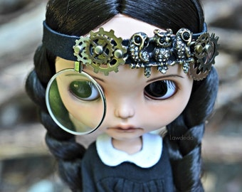 Steampunk Leather Headband for Blythe