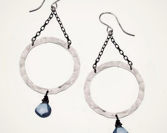handmade hoop earrings, organic hoops earrings, mixed metal jewelry, quartz earrings