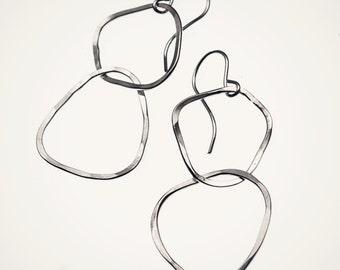 double linked hoop earrings, handmade hammered sterling silver hoops