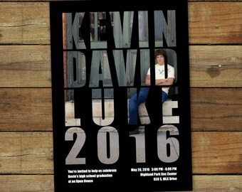 Custom graduation announcement and party invitation, class of 2016, graduation party invitation with photo