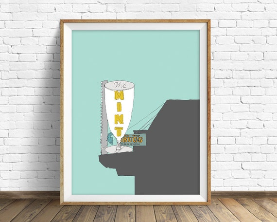 "art print, drawing, ink drawing, wall art, wall art prints, bar sign, vintage neon sign, vintage sign, home decor, colorful -""The Mint Bar"""