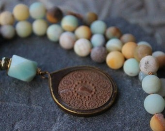 Long Amazonite Necklace, Tybetan pendant necklace,  Bohemian long necklace, knotted gemstone pendant