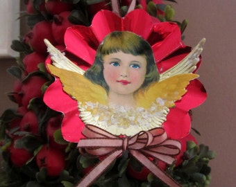 Vintage Red Foil Reflector Ornament with Antique Angel Paper Scrap and Gold Dresdens Handmade Piece