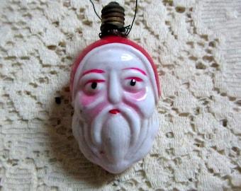 Antique Milk Glass Double Sided Santa Head Figural Ornament/Bulb  1930s Hand Painted Decorative Christmas Bulb