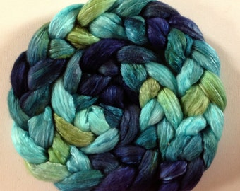 Undulata Hand Dyed roving  polwarth mulberry silk 70/30 made to order CTAS SAL Choose weight