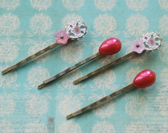 Pink floral enamel hair pin set. Tiedupmemories