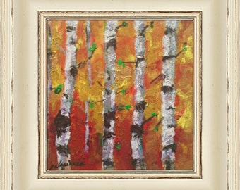 Modern decor, Impressionism,Aspen Trees,Oil Painting,Original