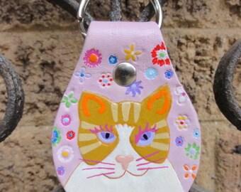 Key Fob with Tabby Cat