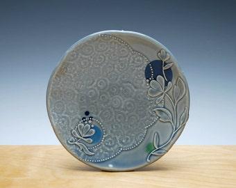 Small Ocean blue plate w. Floral & Polka dot, Serving / dessert plate