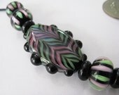 Pink and Green Stripes Handmade Lampwork Bead Set