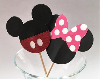 Mickey or Minnie Mouse Cupcake Toppers/Party Picks - Set of 12