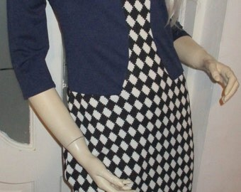 SALE Reduced to clear New with Tags Mod Dress Seventies Two Tone Dress Checkered Retro Crimpeline Dress