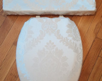 Ivory Jacquard Damask  Toilet Seat & Tank Lid Cover Set