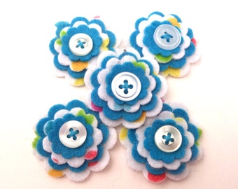 Felt Flowers, Floral Embellishments, Scrapbook Decoration, Ocean Blue and Polka Dots with Buttons, Set of 5 Flowers