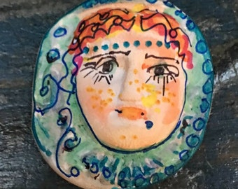 clay face jewelry craft supplies  handmade cabochon   red hair   polymer clay  findings    girl  freckles