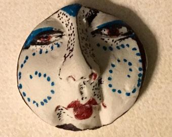 Handmade clay face  goddess  woman doll head moon  jewelry craft supplies  cabochon  mosaics dolls jewelry craft  spirit