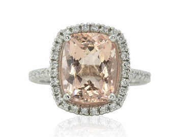 Morganite Engagement Ring - 10x12mm Cushion cut Morganite Ring with Diamond Halo and Filigree - Bel Canto Collection - LS4758
