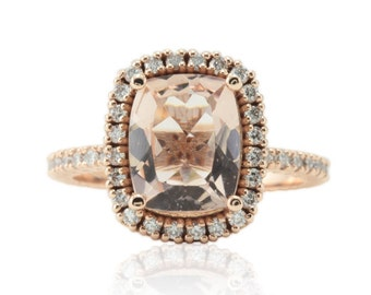Morganite Engagement Ring, 2.5 carat Peach Morganite Engagement Ring, Morganite Cushion Cut Ring - Bel Canto Collection - LS3284