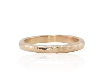Rose Gold Wedding Band with Hammered Finish - Rustic Wedding Band or Stacking Knuckle Ring - LS3163