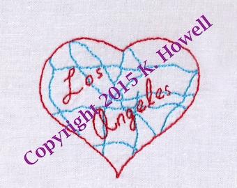 Hand Embroidery Pattern-LA Freeway Heart-I Love LA