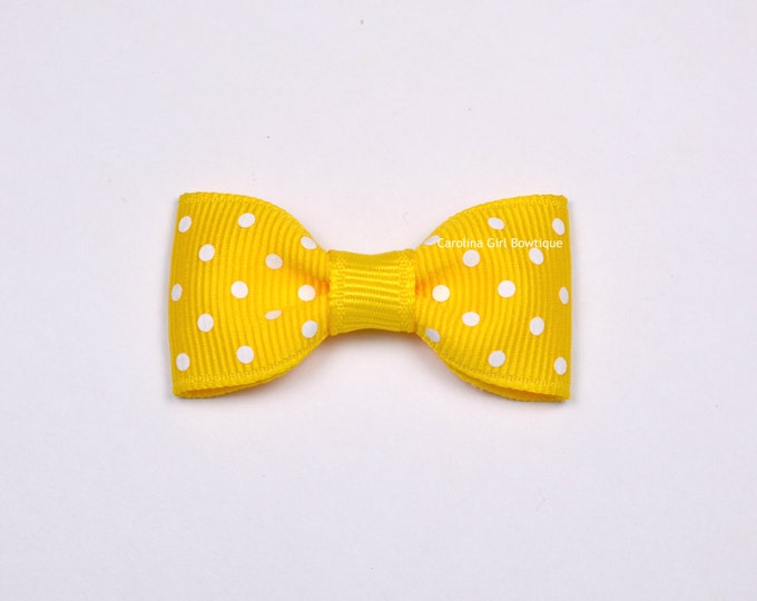 Yellow Dots Baby Hair Bow ~ 2 in. Bow with No Slip Grip ~ Small Hair Bows Newborns Toddler Girls
