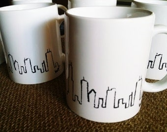 Hand Painted Chicago Skyline Mug