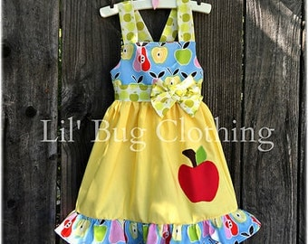 Back To School Girl Apple & Pear Dress, Back To School Girl Outfit, Back To School, Girl School Clothes,
