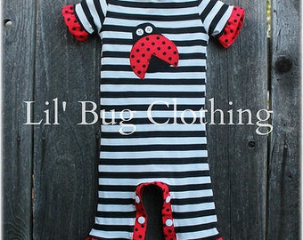 3-6m ONly CLEARANCE SALE Lady Bug Black White Stripe Knit Pant  Romper