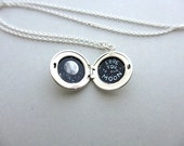Sterling Silver Locket, Original Oil Painting, Love You to the Moon, Tiny Secret Necklace