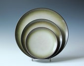 3 pc vintage Heath ceramic pottery dinner, salad and bread plates in Sea and Sand pattern
