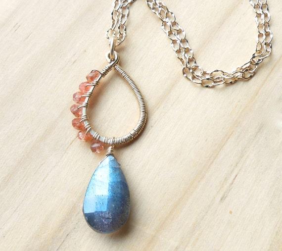 Long Gold Gemstone Necklace, Labradorite and Sunstone
